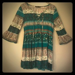 BOHO TUNIC DRESS, WITH LACE UP NECKLINE, L, NWOT